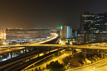 Hong Kong city scene, traffic in downtown area.