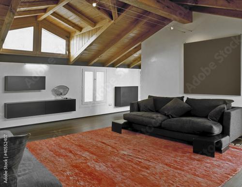soggiorno moderno in mansarda e tappeto rosso\
