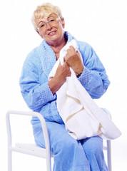 handicapped elderly lady after shower
