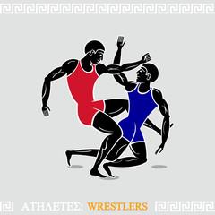 Greek art stylized free-style wrestlers