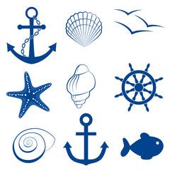 Sea set shell fish anchor wheel starfish