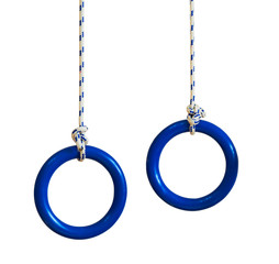 Blue gymnastic rings on a rope