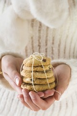 Hands holding cranberry cookies (Christmassy)