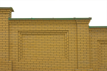 Brick fence. Isolated on white background