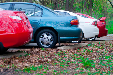 Cars Parked in the local forest preserve