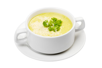 cream soup in white bowl isolated