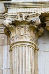 Corinthian column capital , facade of the University of Alcala d