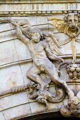 Figure, facade of the University of Alcala de Henares, Madrid, S