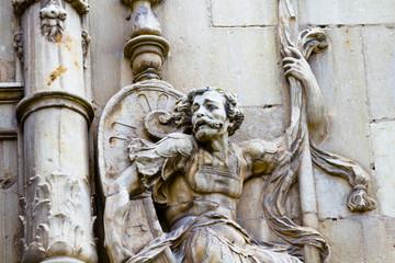 Warrior, facade of the University of Alcala de Henares, Madrid,