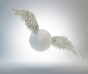 Flying sphere with white wings