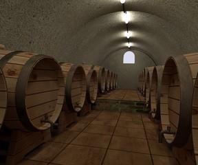 3d render of wine cellar