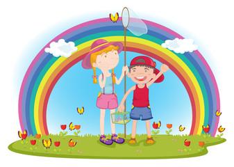 Door stickers Rainbow kids in garden