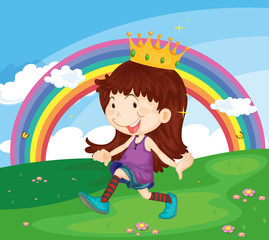 Door stickers Rainbow Cartoon illustration