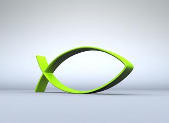 Grünes Fisch-Symbol auf grau 04
