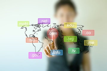 Business woman hand  touching on Domain names icon