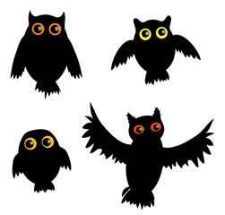 Cartoon Owl siluette(vector version)