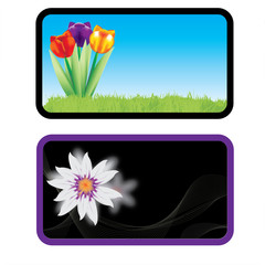 Vector business card with flowers