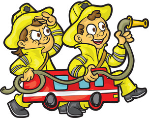 Kids fire fighters Playing and Having Fun