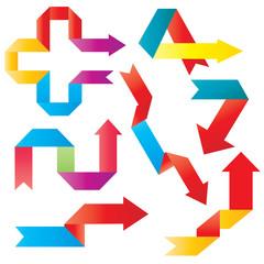 Vector color origami arrows
