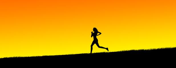 silhouette of a beautiful young women jogging