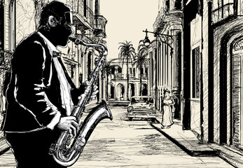 Aluminium Prints Music Band saxophonist in a street of Cuba