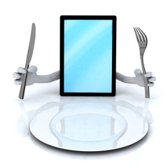 pc tablet with hands and utensils