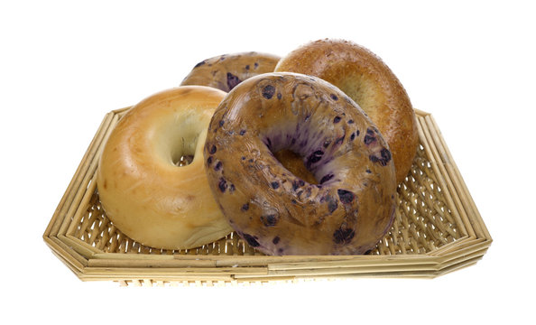 Group of bagels in basket