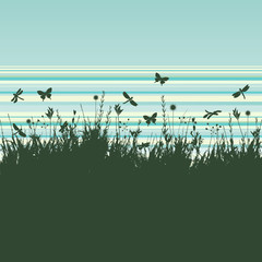 Grunge background with flying insects