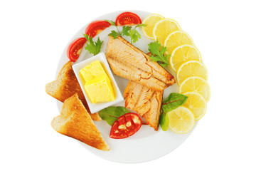 roast salmon and butter