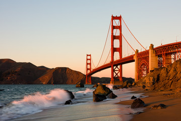 Poster de jardin San Francisco Golden Gate Bridge in San Francisco at sunset