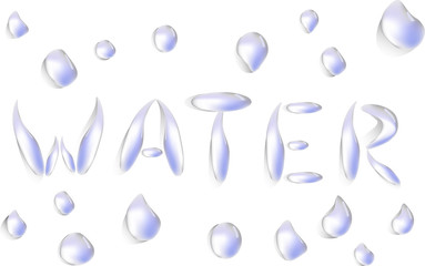 water word from drops illustration