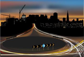 street light in night city
