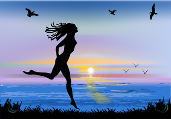 running girl silhouette at sea sunset
