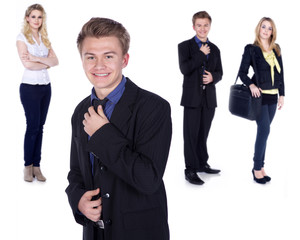 Geschäftsleute motiviert, Junger Mann stellt sich vor