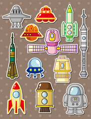 Tuinposter Robots rocket stickers