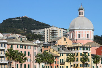 colorful chapel and houses of Genova, Italy