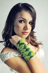 brunette in bracelet
