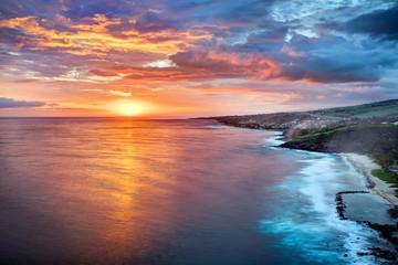 Poster de jardin Lavende Crépuscule sur Grande Anse - Ile de La Réunion
