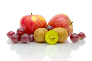 juicy fresh fruits on white background