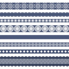 different lace strips on white background
