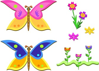 Mix of Lovely Butterflies and Flowers