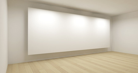 Empty school room with big white backdrop, 3d art concept, clean