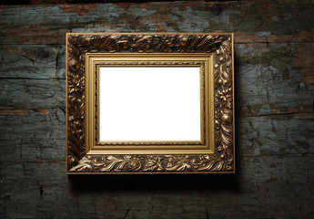 Image of antique picture frame on old wood texture