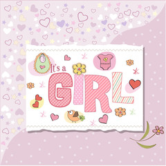 funny baby girl announcement card