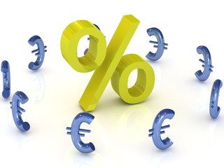 Gold percent with blue euro symbols