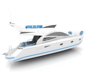 White luxury yacht isolated on a white background