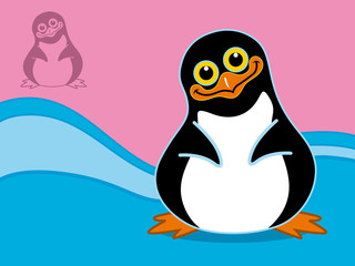 happy penguin, vector illustration