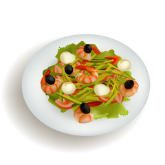 shrimp salad with avocado olives on  plate