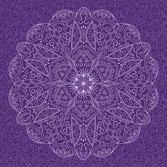 Foto auf AluDibond Boho-Stil Decorative round lace pattern on background with swirls