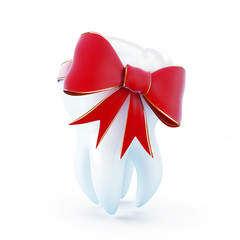 tooth gift red bow